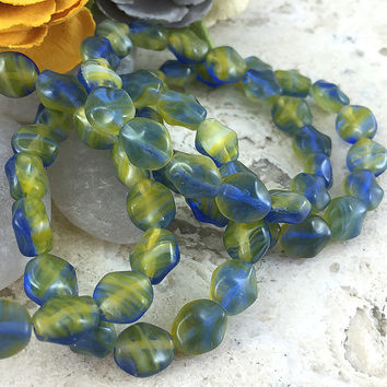 15 Yellow and Blue Czech Glass Beads, 8x9mm Flat Oval Beads