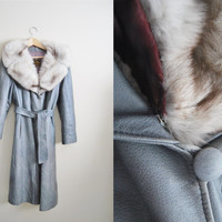 Vintage 70s Grey Leather Fox Fur Collar Trench Long Coat Belted Winter
