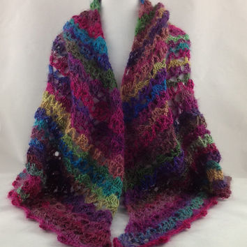 Jewel Tones Shawl - Crochet Shawl - Wrap - Scarf - Jewel Tones - For Her - For Mom