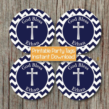 Baptism First Holy Communion Religious Cupcake Toppers Navy Blue Cross DIY Party Toppers Digital - 227