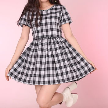 Glitters For Dinner — Made To Order - Black & Grey Tartan Baby Doll Dress