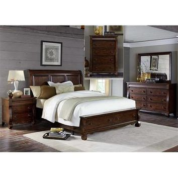 Liberty Furniture Sinclair Storage Bed & Dresser & Mirror & Chest & Nightstand in Rustic Russet Finish