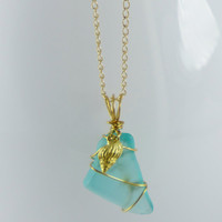 Hand Wrapped Sea Glass Charm Necklace