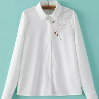White Hand Print Long Sleeve Blouse