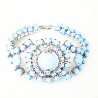 Rhinestone Bracelet Powder Blue Diamante Silver Tone Pin Up Girl Vintage Jewelry