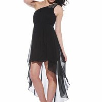 Black One Shoulder High-Low Dress with Embellishment