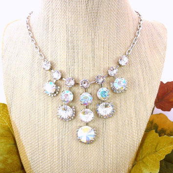 Cascading Swarovski crystal bridal necklace, clear crystals, AB, diamond like sparkle, Siggy bling