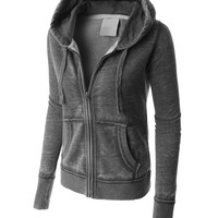 LE3NO PREMIUM Womens Lightweight Soft Fleece Burnout Zip Up Hoodie Jacket