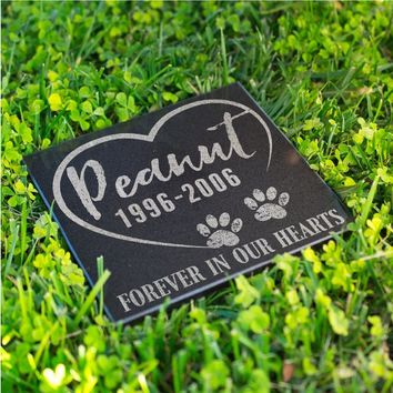 Personalized Memorial Pet Stone Granite - Forever in Our Hearts Engraved Headstone, Burial Stone, Grave Marker for Best Companion #8