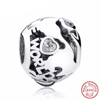 AROUND THE WORLD Bead / Charm 925 Sterling Silver Authentic fit Pandora Bracelet