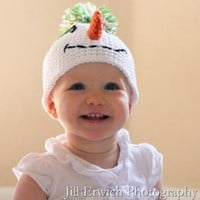 Amazon.com: Melondipity Girls Miss Frosty Crochet Baby Hat - White Knit Winter or Christmas Holiday Snowman Beanie with Green Pom-Pom - Sizes: 0-6, 6-12 and 12-24 - Newborn, Infant and Toddler: Clothing