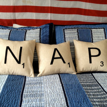 Decorative scrabble pillows by pillowpress on Etsy