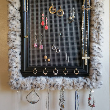 NEW Faux Fur Jewelry Organizer Frame Board / Unique Diva Necklace And Earring Display