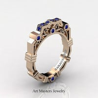 Caravaggio Modern 14K Rose Gold Blue Sapphire Wedding Band R624B-14KRGBS