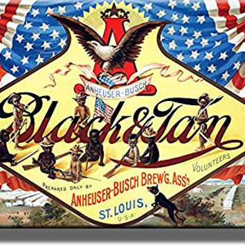 Anheuser-Busch Black and Tan Beer Vintage Picture on Stretched Canvas, Wall Art Decor, Ready to Hang!