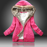 Plus Size Artificial Wool Hooded Women's Cotton Trend Coat