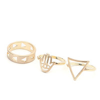 With Love From CA Geo Triangle 3 Pack Midi Rings at PacSun.com