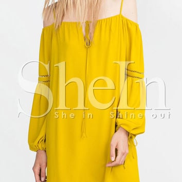 Yellow Spaghetti Strap Bell Sleeve Tie Neck Dress