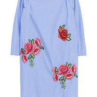 Blue Off Shoulder Embroidery Floral 3/4 Sleeve Shift Dress