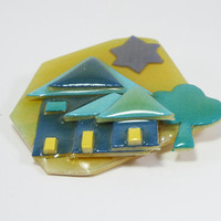 Teal House Brooch - Lucinda House Pin Kitchy Tree and Sun Blue House Yellow, Teal and Navy Blue  Designs By Lucinda Yates  Vintage 1990