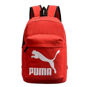 PUMA New fashion white print couple canvas backpack bag Red