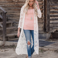 Just Close Your Eyes Long Embroidered Lace Kimono Ivory