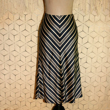 Silk Skirt Medium Size 10 Navy Blue Beige Chevron Skirt Midi Womens Skirts Flared Skirt Diagonal Striped Banana Republic Womens Clothing