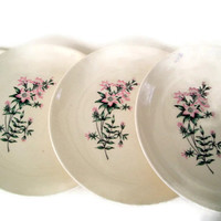 Mid Century Vintage Taylor Smith Taylor Bread and Butter Plates Ever Yours Lady Marguerite Pattern Pink and Green Set of 4