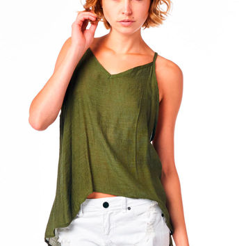Olive V-Neck Tank with Triangle Cut-Out Back