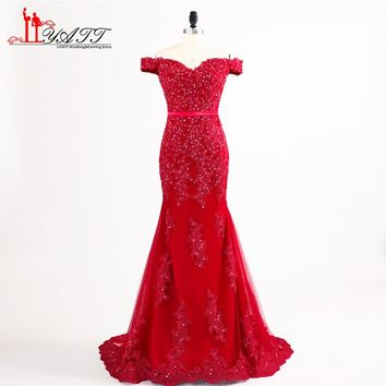 Hot Red Long Mermaid Prom Dresses 2018 New Off Shoulder Lace Beaded Sweehteart Sweep Train Formal Evening Dress Party Gown