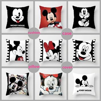 Unstuffed 40*40cm Mickey Mouse Pillow Cover Minnie Mouse Pillow Case Mickey and Minnie Plush Pillow Cartoon Cushion Case Sofa