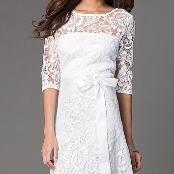 Knee Length Lace Dress with 3/4 Length Sleeves by Sally Fashion