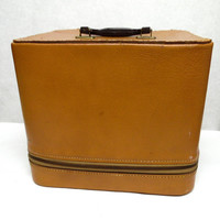Vintage Serval Train Case Brown Leather Travel Luggage Suitcase