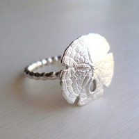 Sand Dollar Ring - Sterling Silver - Organic - Beach Jewelry - Beach Wedding - Nature Inspired - Beaded - Sea Biscuit - Sand Dollar Jewelry
