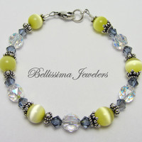 Bali Silver and Sapphire Crystal Bracelet, Featuring Yellow Natural Beads, Stunning Valentines Day Gift