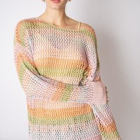 Multi Colored Open Knit Sweater