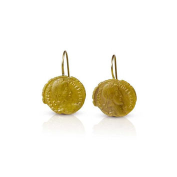 Ancient Roman Coin Gold Earrings