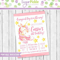 Unicorn Birthday Invitation, Unicorn party Invitation, Unicorn Invitation, Unicorn Party, Unicorn Birthday party Printable invitation