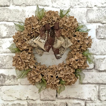 Burlap Hydrangea Wreath, Summer Wreath, Front Door Wreath, Outdoor Wreath, Burlap Wreath, Floral Wreath, Grapevine Wreath, Neutral Wreath
