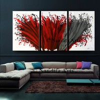 """Sale - Abstract Painting Wall Art Modern Painting 72"""" Red Contemporary Home Decor for Living room or office decor by Nandita albright"""