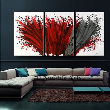 "Sale - Abstract Painting Wall Art Modern Painting 72"" Red Contemporary Home Decor for Living room or office decor by Nandita albright"
