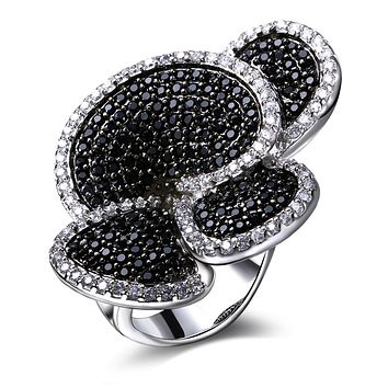 Best Buy Flower rings Setting with Black&white Color simulated Cubic Zirconia Stone Special rings Engagement  anillo bague