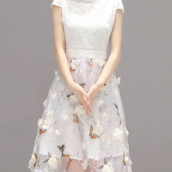 Casual Fancy Band Collar Floral Hollow Out Skater Dress