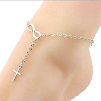 Silver Gold Color Cross Infiniti Cute Women Ankle Bracelet Ladies Anklet Ankle Chain Leg Jewelry
