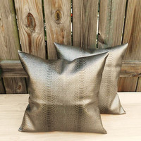 Metallic Grey/Black Faux Leather Throw Pillow Covers Snakeskin Print