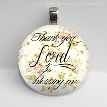 30mm Lord blessing glass tile pendant key chain jewelry bible quote verse womens gift under 10