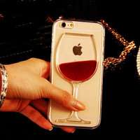 Hot Red Wine Glass Liquid Quicksand Transparent Phone Case Hard Back Cover For iPhone 4 4S 5 5S 5C 6 6S 7 Plus -0328