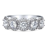 A Flawless 2.99TCW Russian Lab Diamond Halo Half Eternity Ring