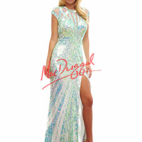 Mac Duggal Two Tone Sequin Prom Dress 4100A