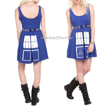 Licensed cool BBC DR Doctor Who Her Universe Costume TARDIS Skater Dress Police  Box S-L
